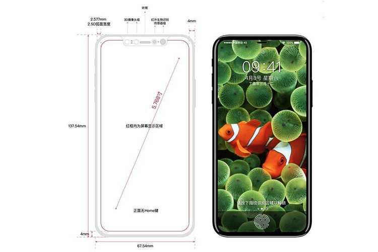 آیفون 8 با طراحی تمام صفحه و حاشیه کم نمایشگر