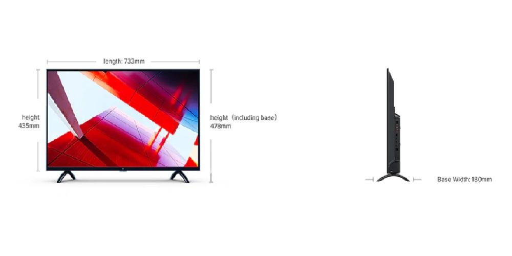 سایز نمایشگر تلویزیون شیائومی 4A (32 اینچ)